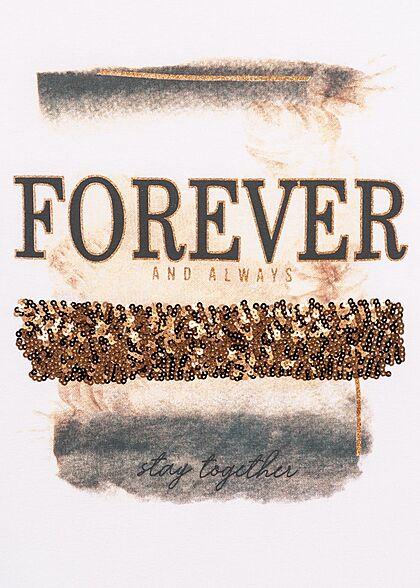 Seventyseven Lifestyle Damen Casual T-Shirt mit Pailletten Forever Print weiss