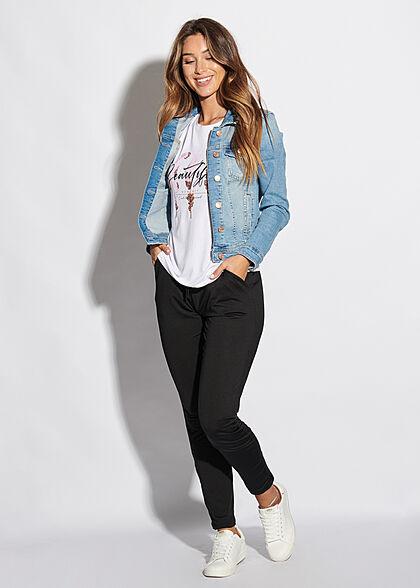 Seventyseven Lifestyle Damen T-Shirt Beautiful Print Paillettenbesatz weiss