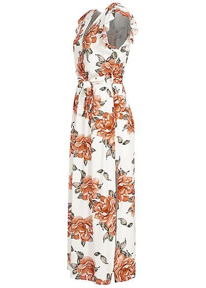 Styleboom Fashion Damen V-Neck Maxi Wickelkleid Bindegürtel Rosen Print weiss