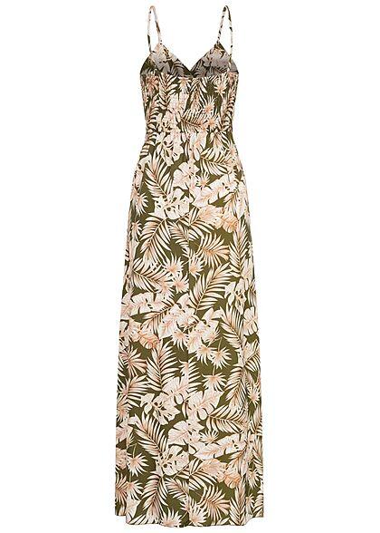 Styleboom Fashion Damen V-Neck Maxi Kleid Bindedetail Tropical Print khaki beige