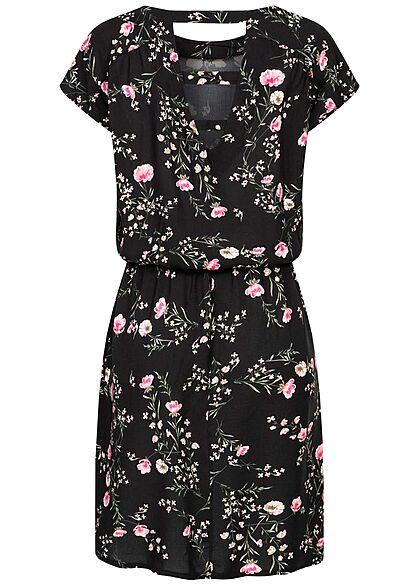 Styleboom Fashion Damen Sommer Viskose Kleid Floraler Print 2-Pockets schwarz rosa