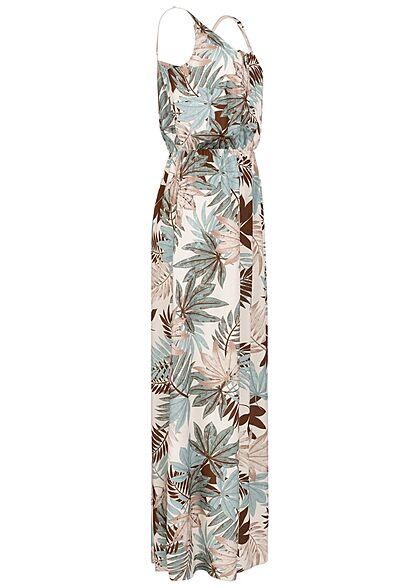 Styleboom Fashion Damen V-Neck Maxi Kleid Gummibund Tropical Print oatmeal beige multicolor