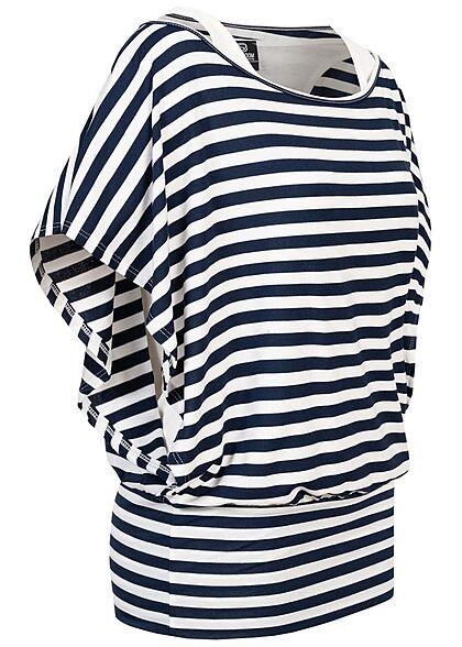 Styleboom Fashion Damen Viskose Fledermausarm Shirt 2in1 Optik Streifen weiss navy