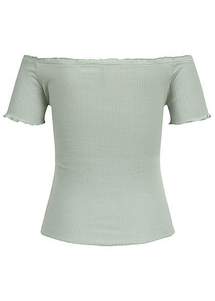 Seventyseven Lifestyle Damen Ribbed Off-Shoulder Frill Shirt grün