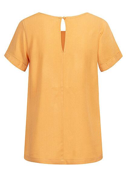 Seventyseven Lifestyle Damen Kurzarm Viskose Bluse mit Knopf gelb
