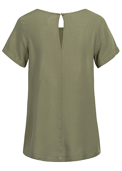 Seventyseven Lifestyle Damen Kurzarm Viskose Bluse mit Knopf khaki grün