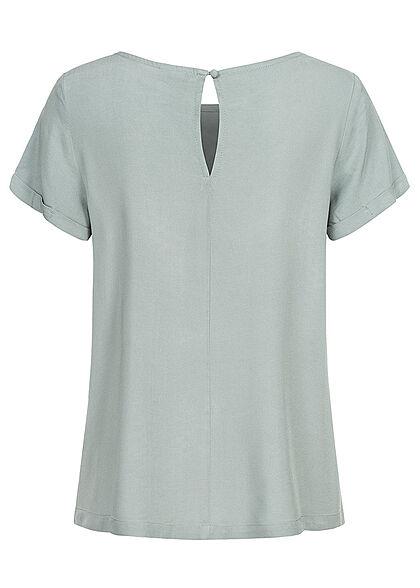 Seventyseven Lifestyle Damen Kurzarm Viskose Bluse mit Knopf blau