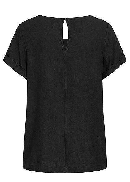 Seventyseven Lifestyle Damen Kurzarm Viskose Bluse mit Knopf schwarz