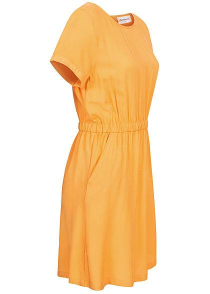 Seventyseven Lifestyle Damen Viskose Mini Kleid 2-Pockets Taillengummibund gelb