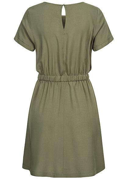 Seventyseven Lifestyle Damen Viskose Mini Kleid 2-Pockets Taillengummibund grün