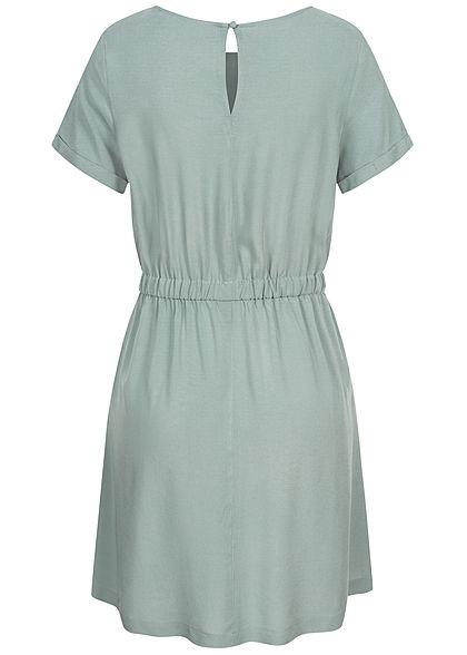 Seventyseven Lifestyle Damen Viskose Mini Kleid 2-Pockets Taillengummibund hell blau