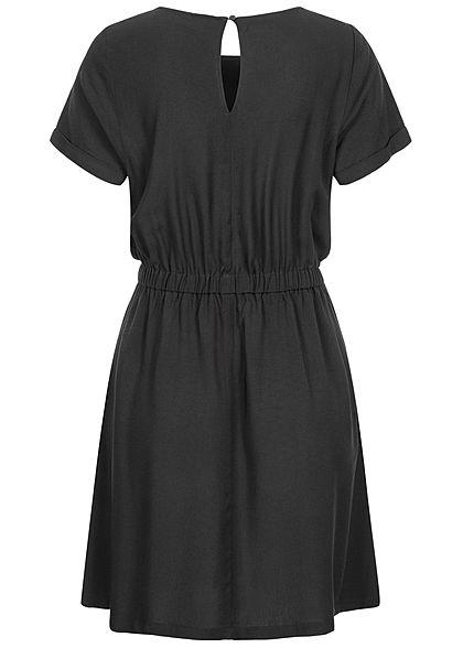 Seventyseven Lifestyle Damen Viskose Mini Kleid 2-Pockets Taillengummibund schwarz