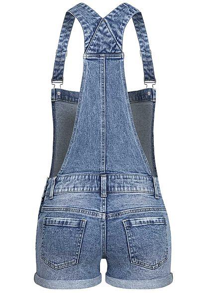 Seventyseven Lifestyle Damen kurze Latzhose Destroy Look 5-Pockets medium blau denim