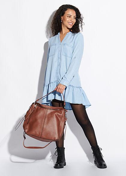 Seventyseven Lifestyle Damen Turn-Up Longform Bluse 2 Brusttaschen hell blau denim