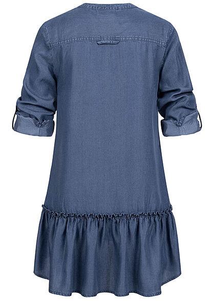 Seventyseven Lifestyle Damen Turn-Up Longform Bluse 2 Brusttaschen dunkel blau denim