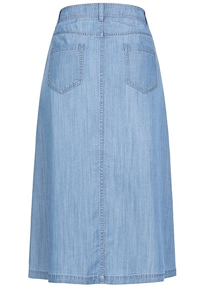 Seventyseven Lifestyle Damen Midi Jeans Rock Knopfleiste medium blau denim