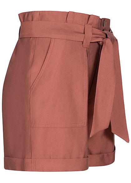 Seventyseven Lifestyle Damen High-Waist Paperbag Shorts mit Bindegürtel apple butter rot