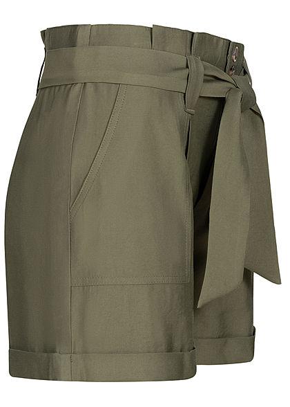 Seventyseven Lifestyle Damen High-Waist Paperbag Shorts mit Bindegürtel olive grün