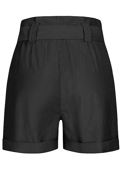 Seventyseven Lifestyle Damen High-Waist Paperbag Shorts mit Bindegürtel schwarz