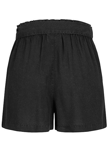 Seventyseven Lifestyle Damen Oversized Paperbag Shorts mit Bindegürtel schwarz
