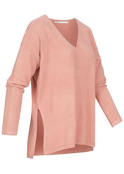 ONLY Damen Oversized V-Neck Strickpullover Soft-Touch mit seitl. Schlitzen ash rosa