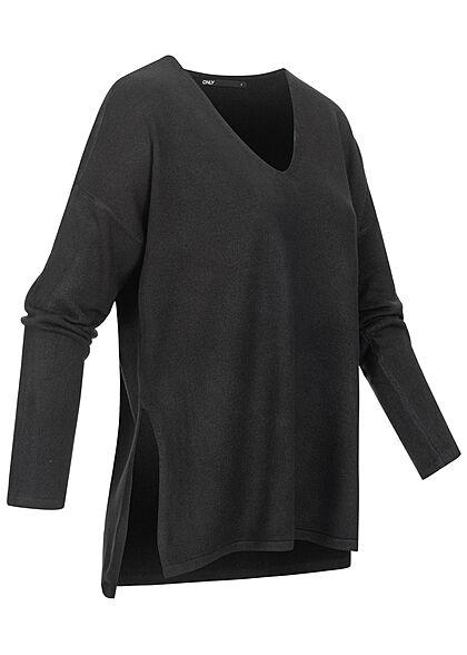 ONLY Damen Oversized V-Neck Strickpullover Soft-Touch mit seitl. Schlitzen schwarz