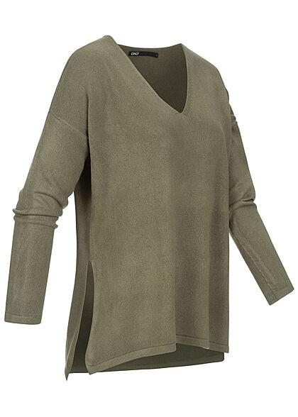 ONLY Damen Oversized V-Neck Strickpullover Soft-Touch mit seitl. Schlitzen kalamata oliv