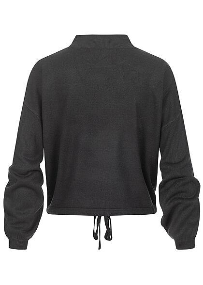 ONLY Damen High-Neck Sweater Strickpullover Fledermausärmel mit Tunnelzug schwarz