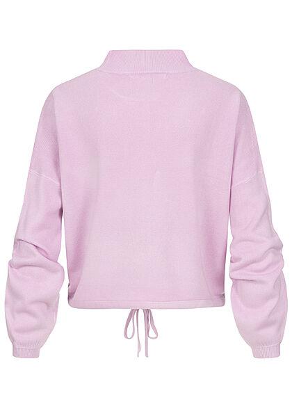 ONLY Damen High-Neck Sweater Strickpullover Fledermausärmel mit Tunnelzug crocus p. lila