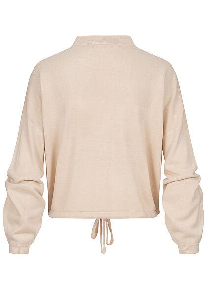 ONLY Damen High-Neck Sweater Strickpullover Fledermausärmel mit Tunnelzug pumice stone