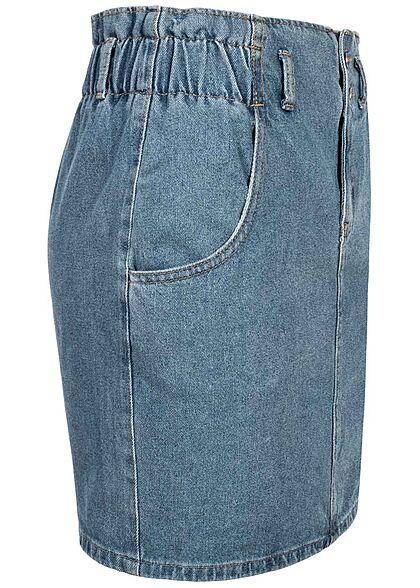 ONLY Damen High-Waist Paperbag Denim Mini Rock 2-Pockets medium blau denim