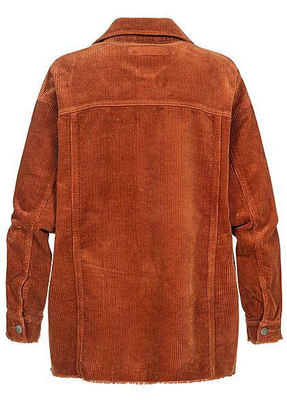 ONLY Damen NOOS Oversized Cord Shacket 4-Pockets Fransen am Saum ginger braun