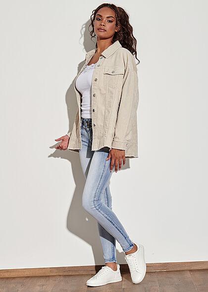 ONLY Damen NOOS Oversized Cord Shacket 4-Pockets Fransen am Saum silver beige