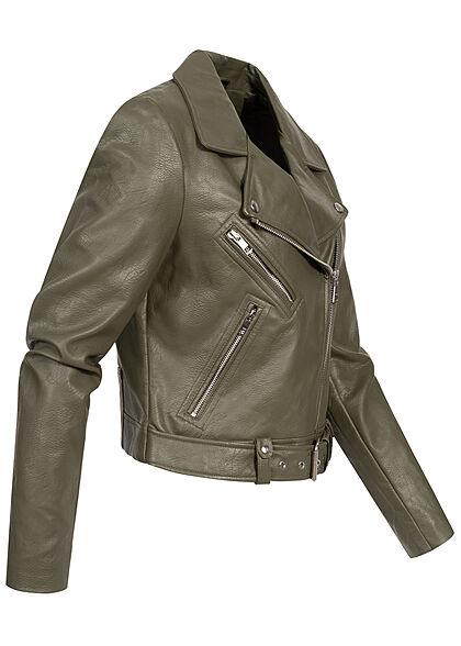 ONLY Damen Kunstleder Biker Jacke asymmetrischer Zipper 3-Pockets kalamata oliv
