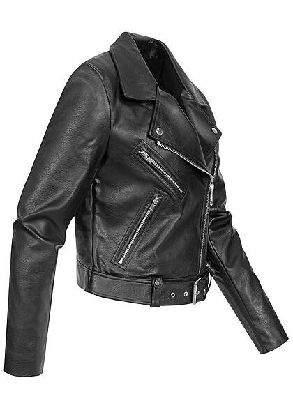 ONLY Damen Kunstleder Biker Jacke asymmetrischer Zipper 3-Pockets schwarz
