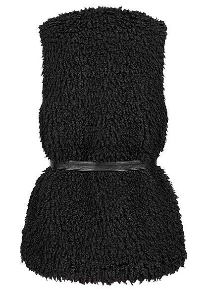 ONLY Damen Teddyfell Weste mit Bindegürtel schwarz