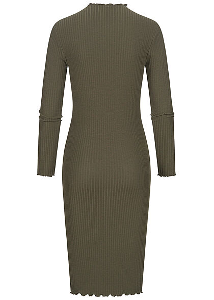 ONLY Damen Ribbed High-Neck Midi Kleid mit Frilldetails am Saum kalamata oliv grün