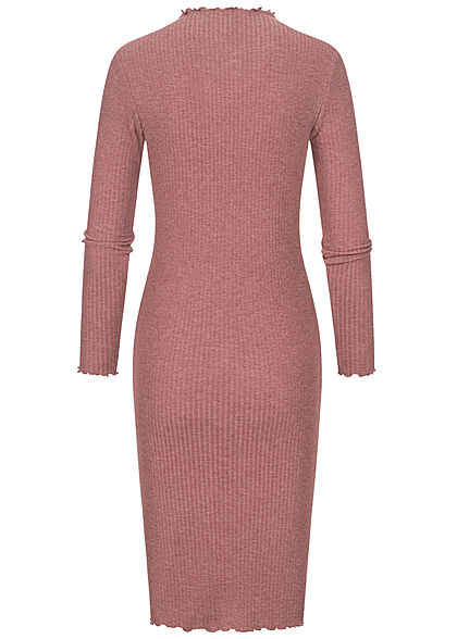 ONLY Damen Ribbed High-Neck Midi Kleid mit Frilldetails am Saum rose brown bordeaux
