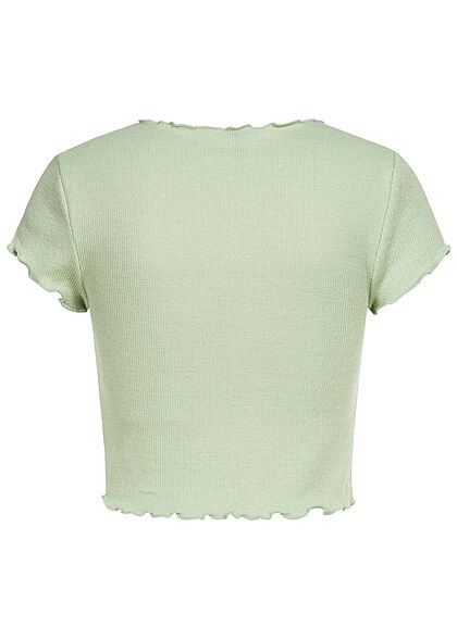 ONLY Damen Ribbed Crop Top T-Shirt mit Wellendetails am Saum frosty grün