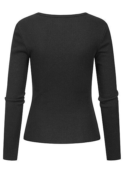 ONLY Damen V-Neck Ribbed Longsleeve Slim Fit schwarz