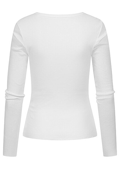 ONLY Damen V-Neck Ribbed Longsleeve Slim Fit weiss