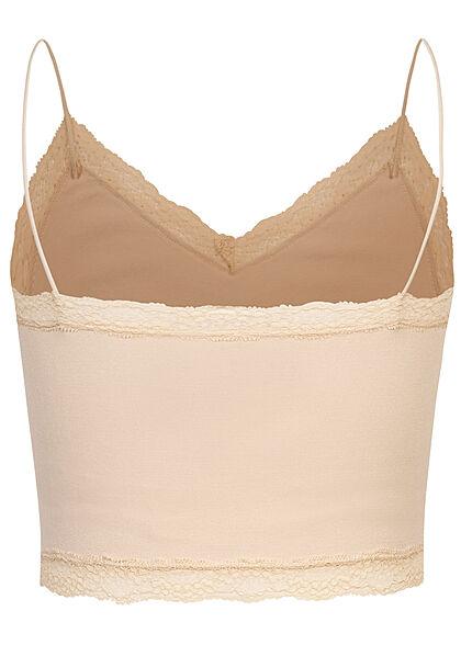 ONLY Damen NOOS kurzes V-Neck Spitzen Top nude beige