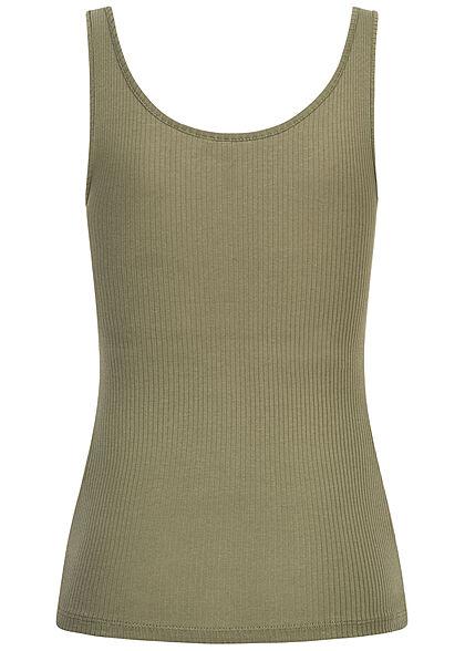 Pieces Damen NOOS Ribbed Tank Top Knopfleiste deep lichen oliv grün