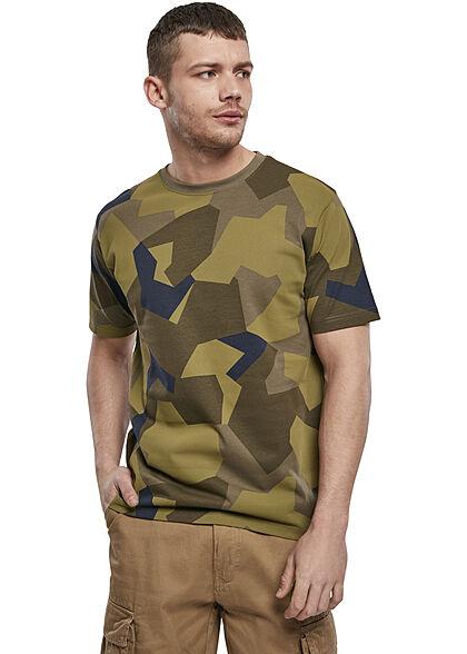 Brandit Herren Basic T-Shirt swedish camo oliv grün