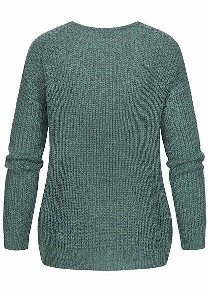 JDY by ONLY Damen NOOS Oversized V-Neck Sweater Strickpullover north atlantic