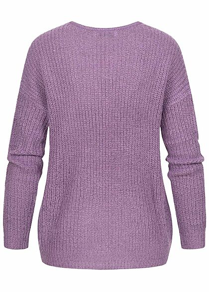 JDY by ONLY Damen NOOS Oversized V-Neck Sweater Strickpullover orchid lila