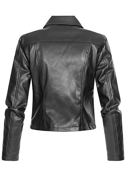 JDY by ONLY Damen NOOS kurze Kunstleder Jacke mit asymmetrischen Zipper schwarz