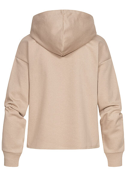JDY by ONLY Damen Hoodie Kapuze Tunnelzug SAN FRANCISCO Print simply taupe beige