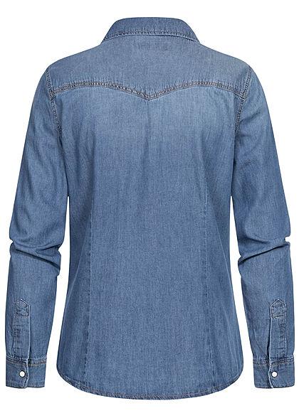 ONLY Damen NOOS Jeans Hemd 2 Brusttaschen Knopfleiste medium blau denim