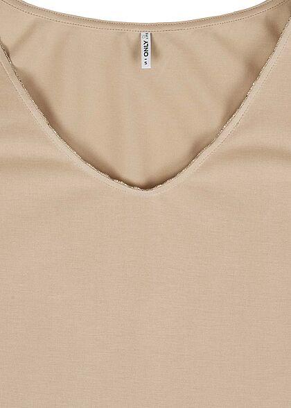 ONLY Damen V-Neck Modal Top mit Schmuckapplikation am Ausschnitt cement beige